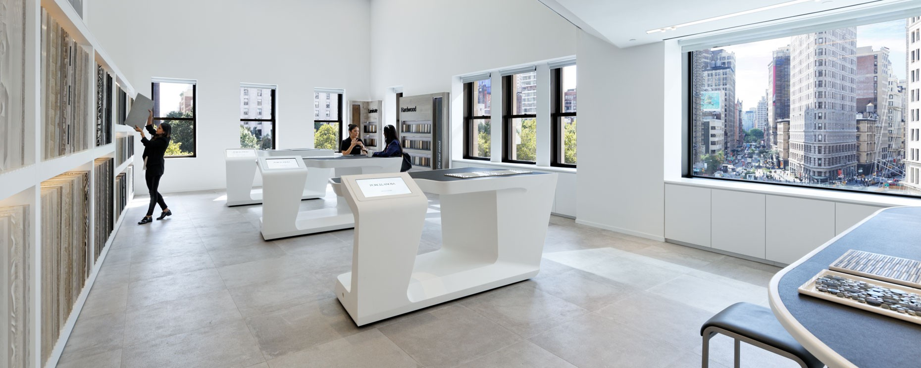 Porcelanosa Showroom, New York City. Thermoformed IPAD display fixtures