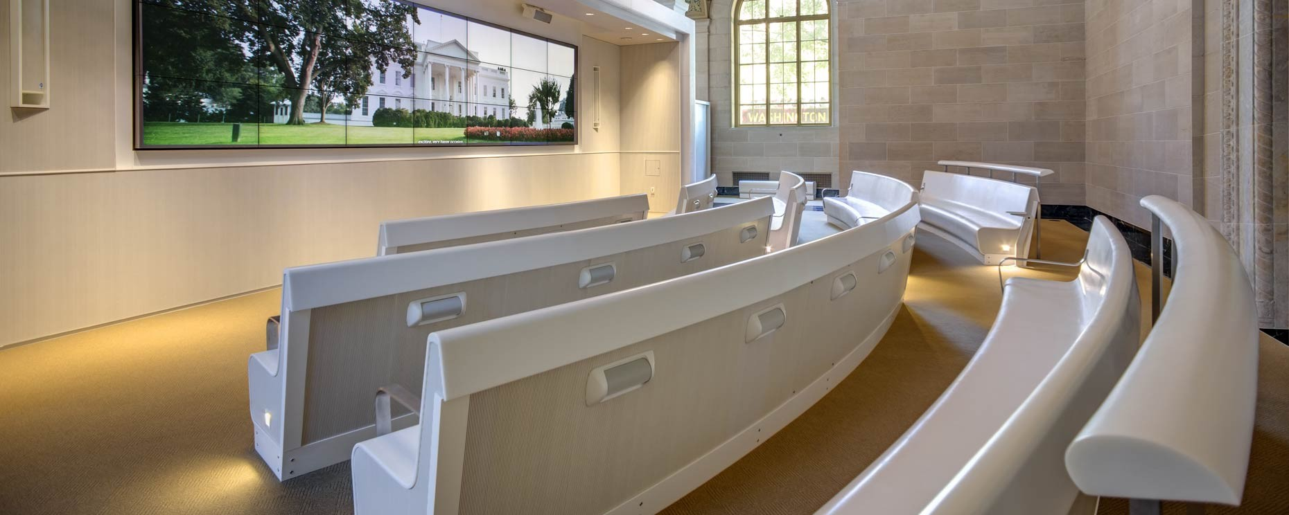 white house visitors center washington dc thermoformed curved benches material corian architecture