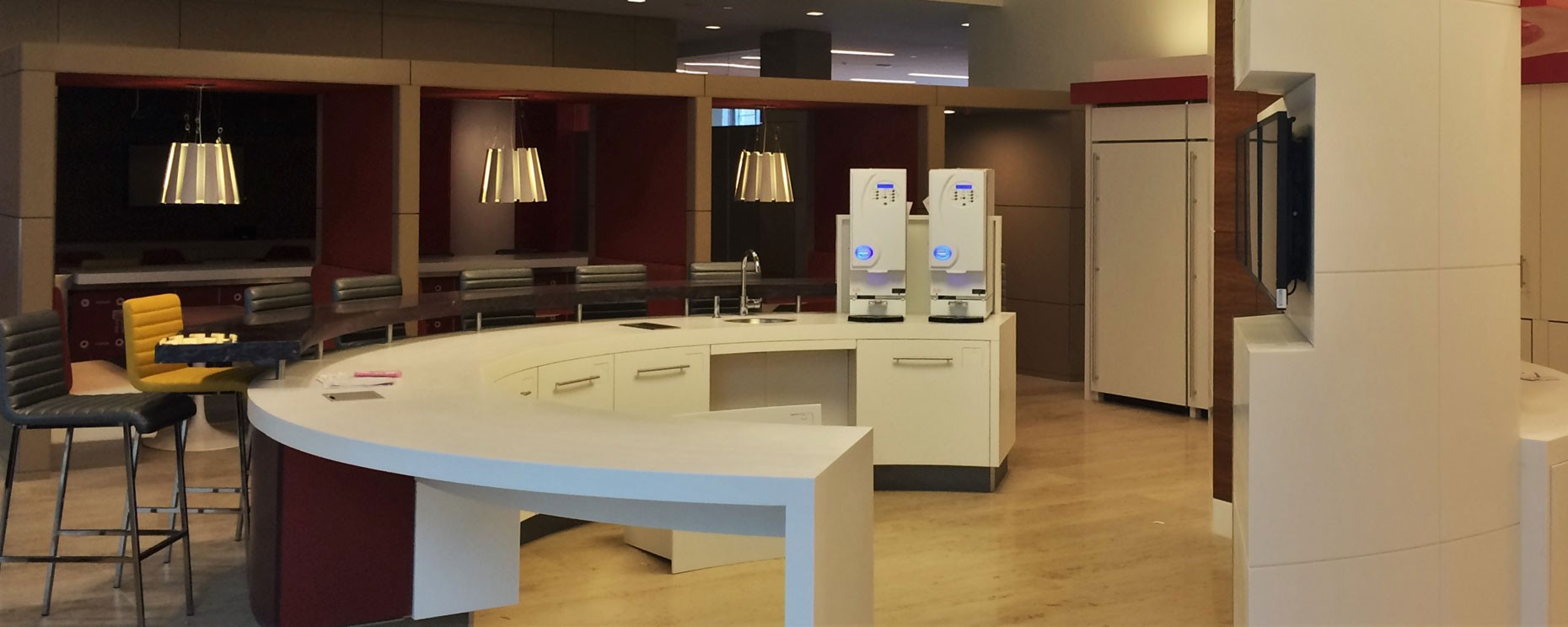 Exxon Mobil World Headquarters Campus, Spring, TX. Thermoformed refreshment rotunda break areas  Materials: Corian, 3form, painted millwork Architecture: PDR General Contractor: Gilbane