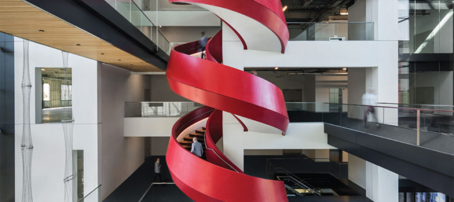 Thermoformed spiral staircase