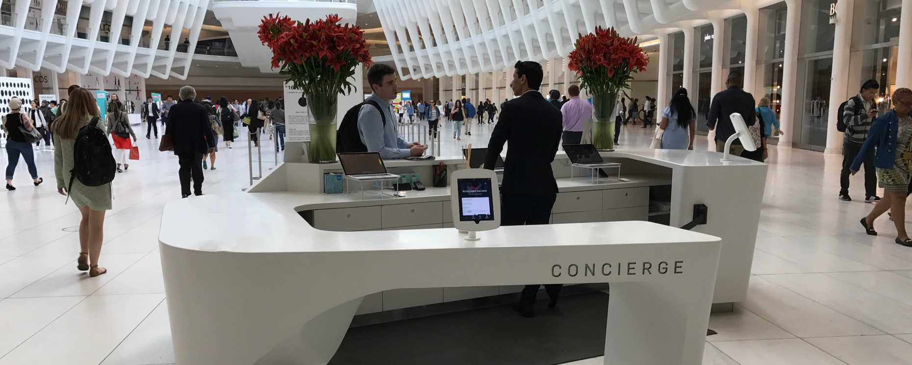 World Trade Center, New York, NY. Solid Surface Thermoformed Concierge Desk