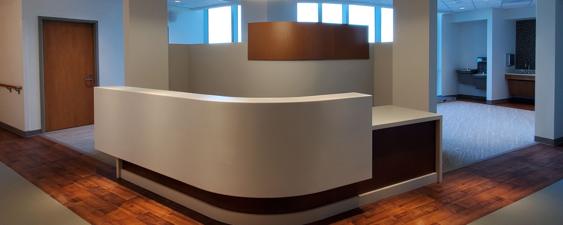 Inova Loudon Hospital North Patient Tower, Leesburg, VA. Nurse's Station Custom Millwork and Solid Surfaces